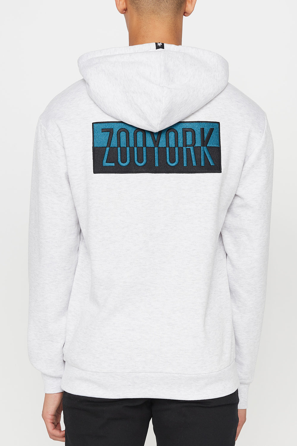 Zoo York Mens Two Tone Box Logo Hoodie Oatmeal