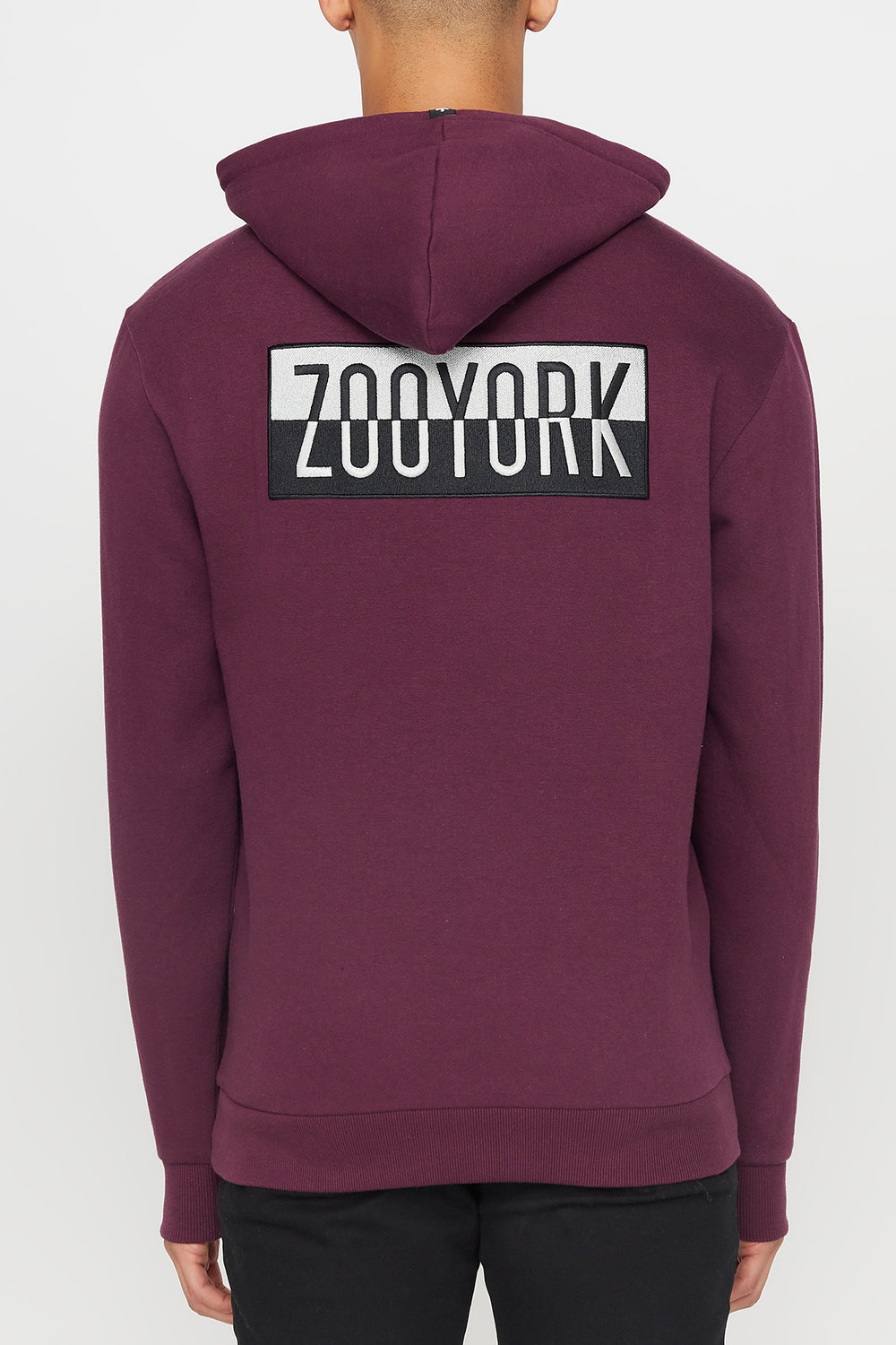 Zoo York Mens Two Tone Box Logo Hoodie Eggplant