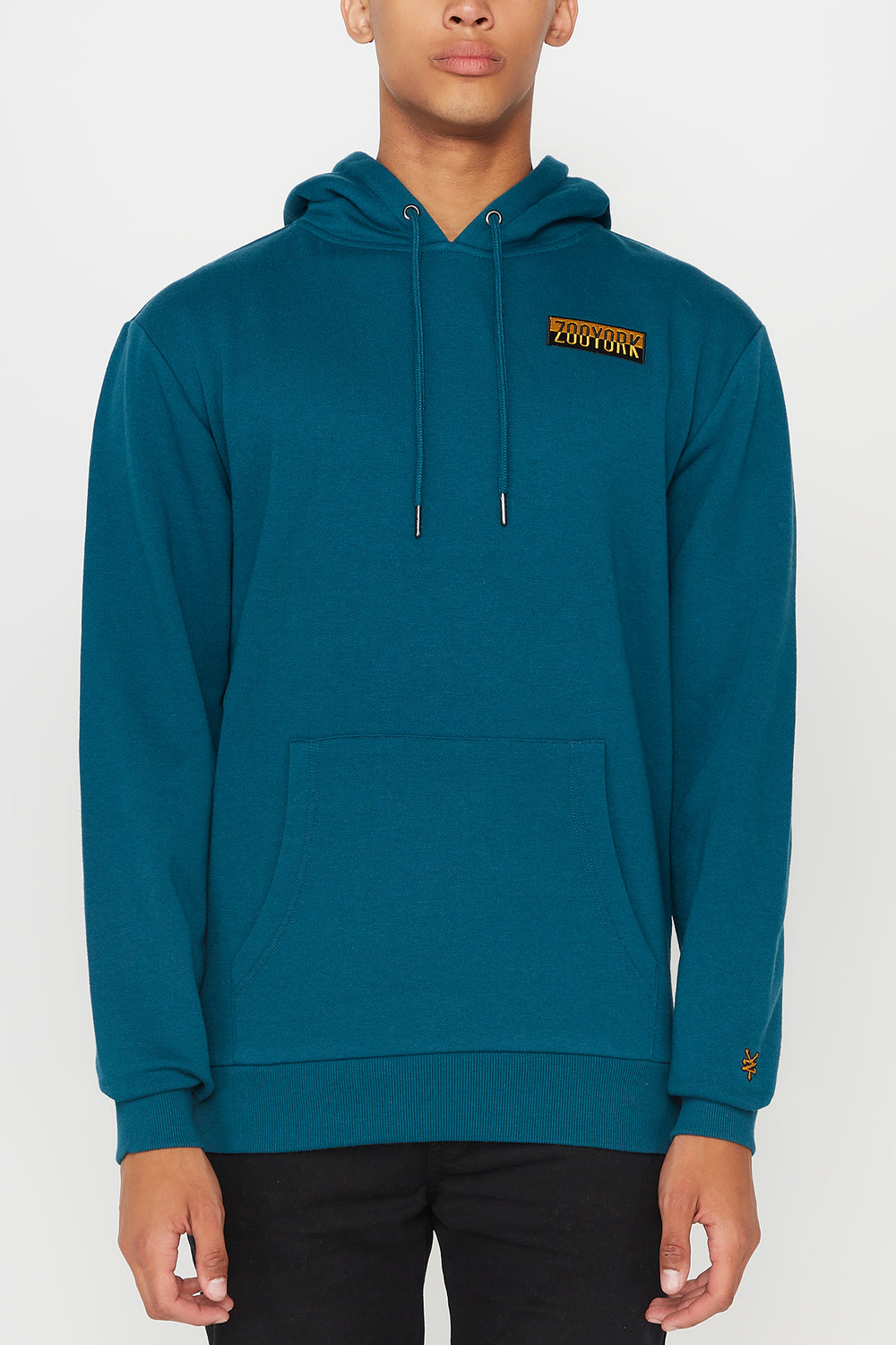 Zoo York Mens Two Tone Box Logo Hoodie Teal