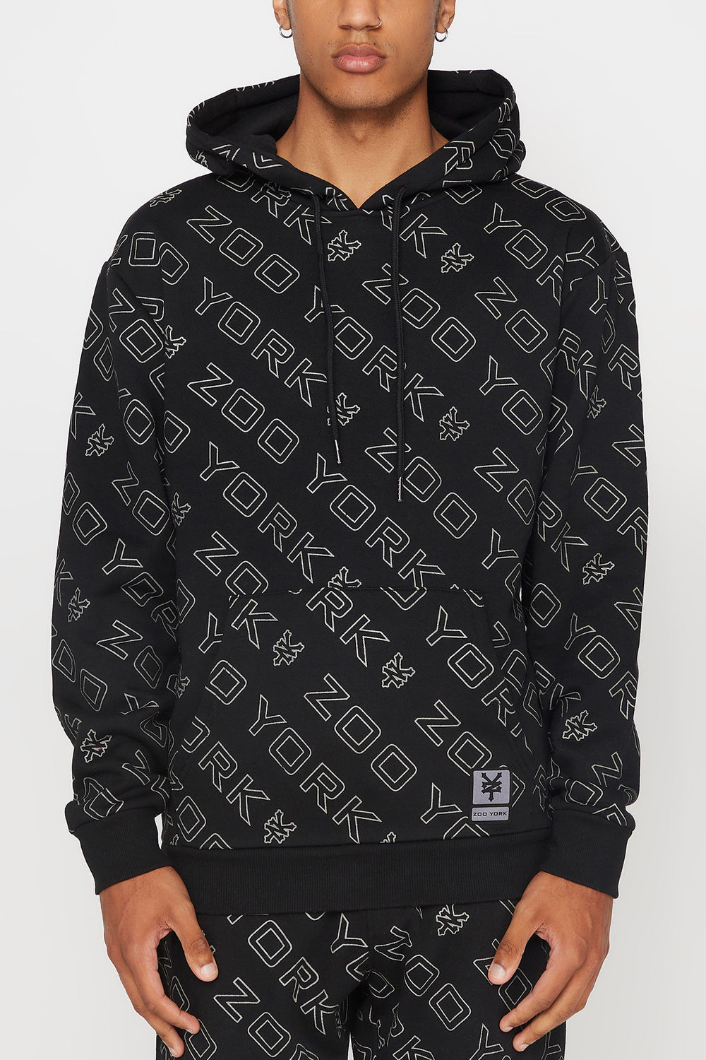 Zoo York Mens Reflective Hoodie Black