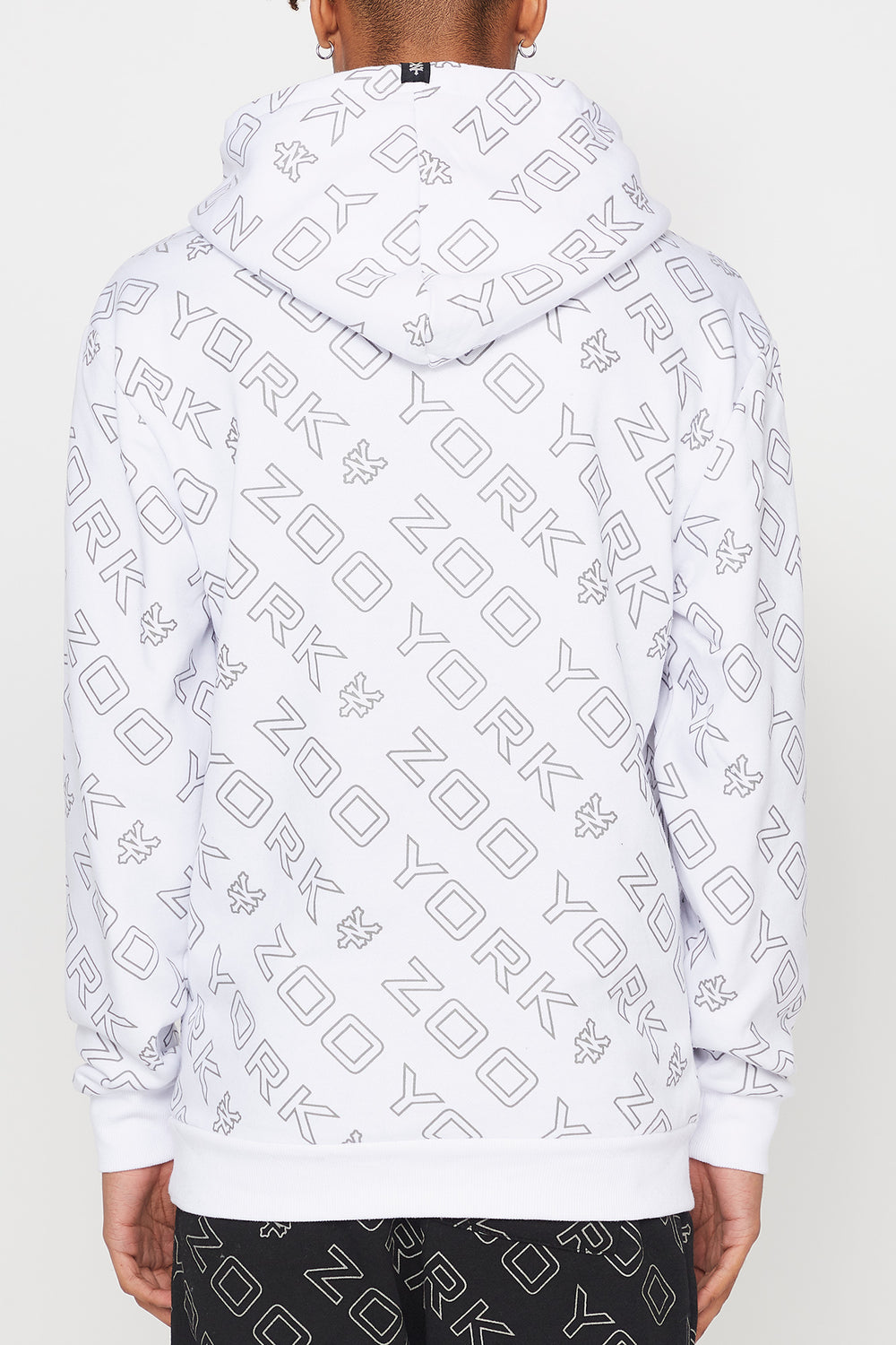 Zoo York Mens Reflective Hoodie White