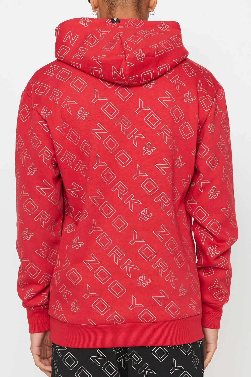 Zoo York Mens Reflective Hoodie Red