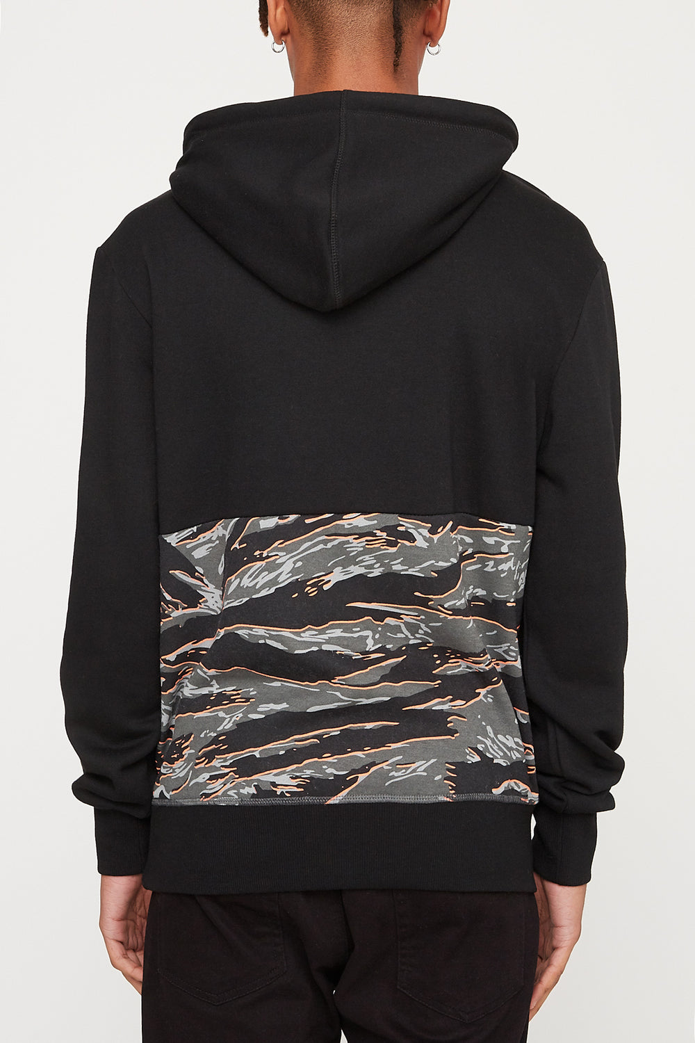 Young & Reckless Mens Tiger Camo Colour Block Hoodie Black