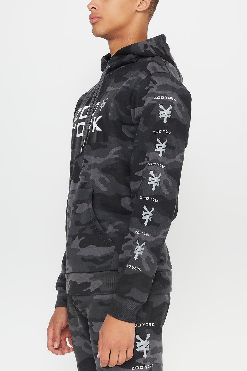 Zoo York Mens Camo Hoodie Black with White
