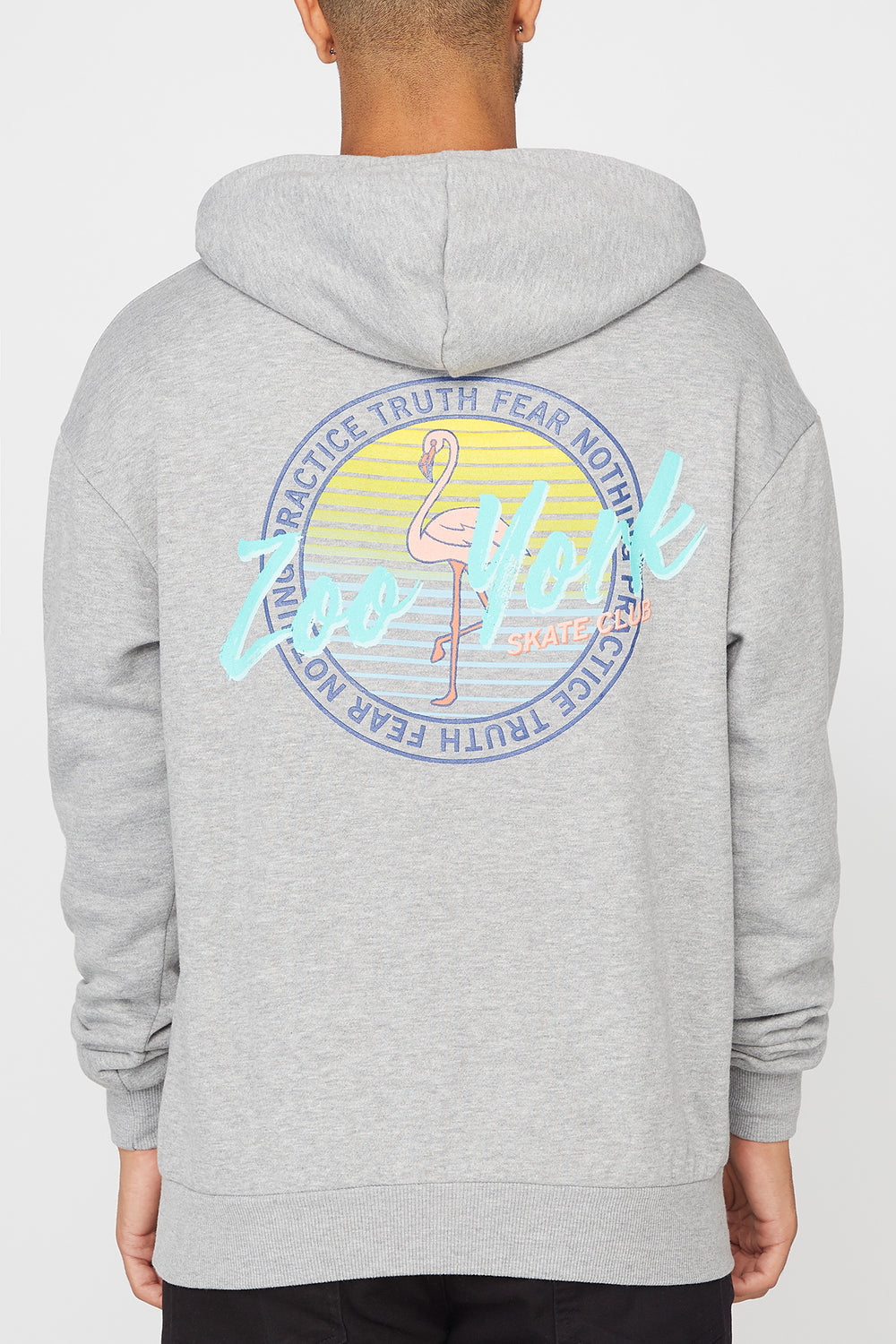 Zoo York Mens Flamingo Logo Hoodie Heather Grey