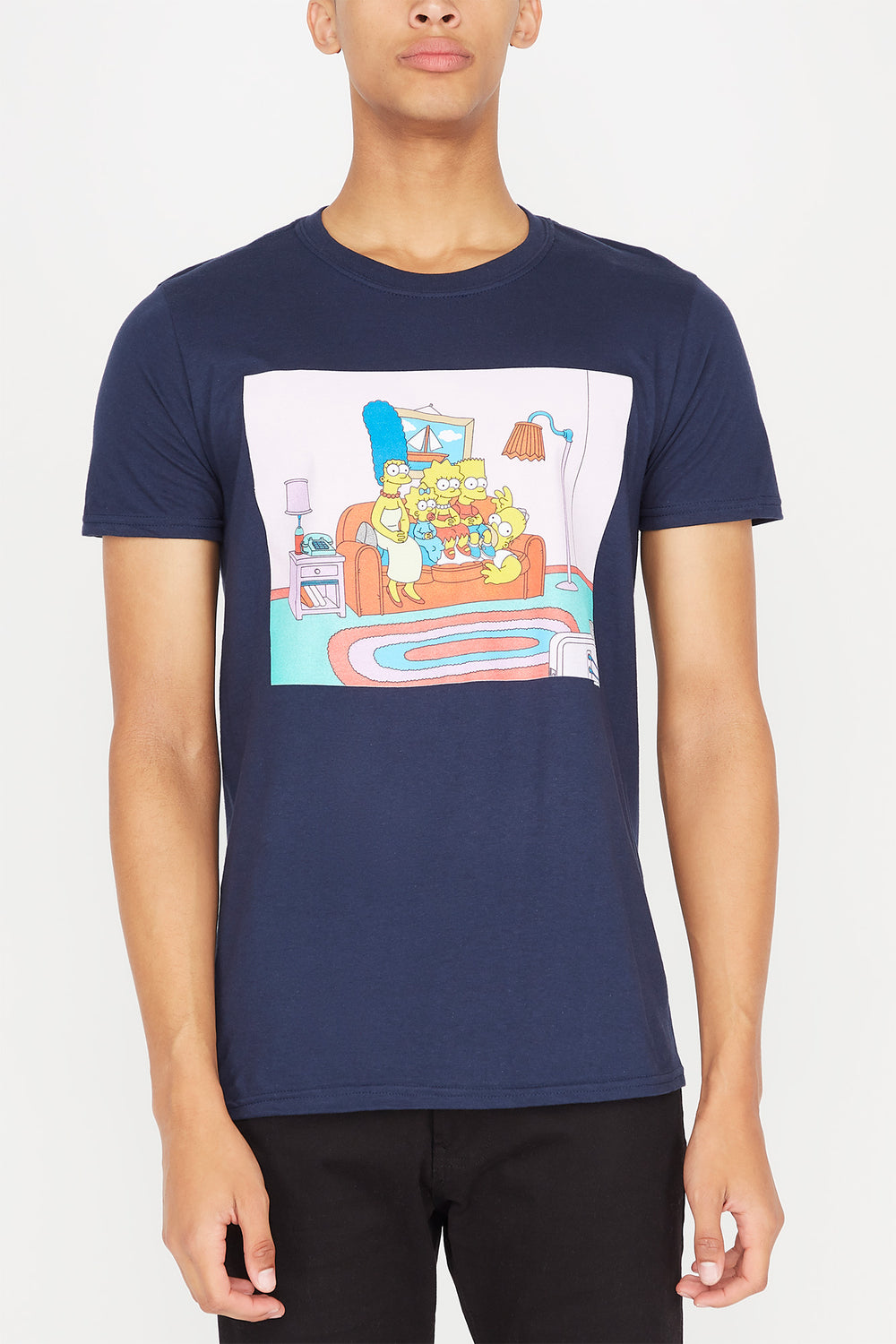 Mens Simpsons Couch Potato T-Shirt Navy