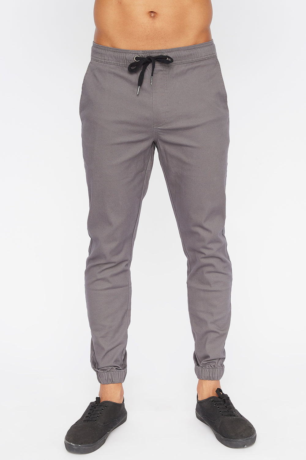 West49 Mens Solid Twill Basic Jogger Heather Grey