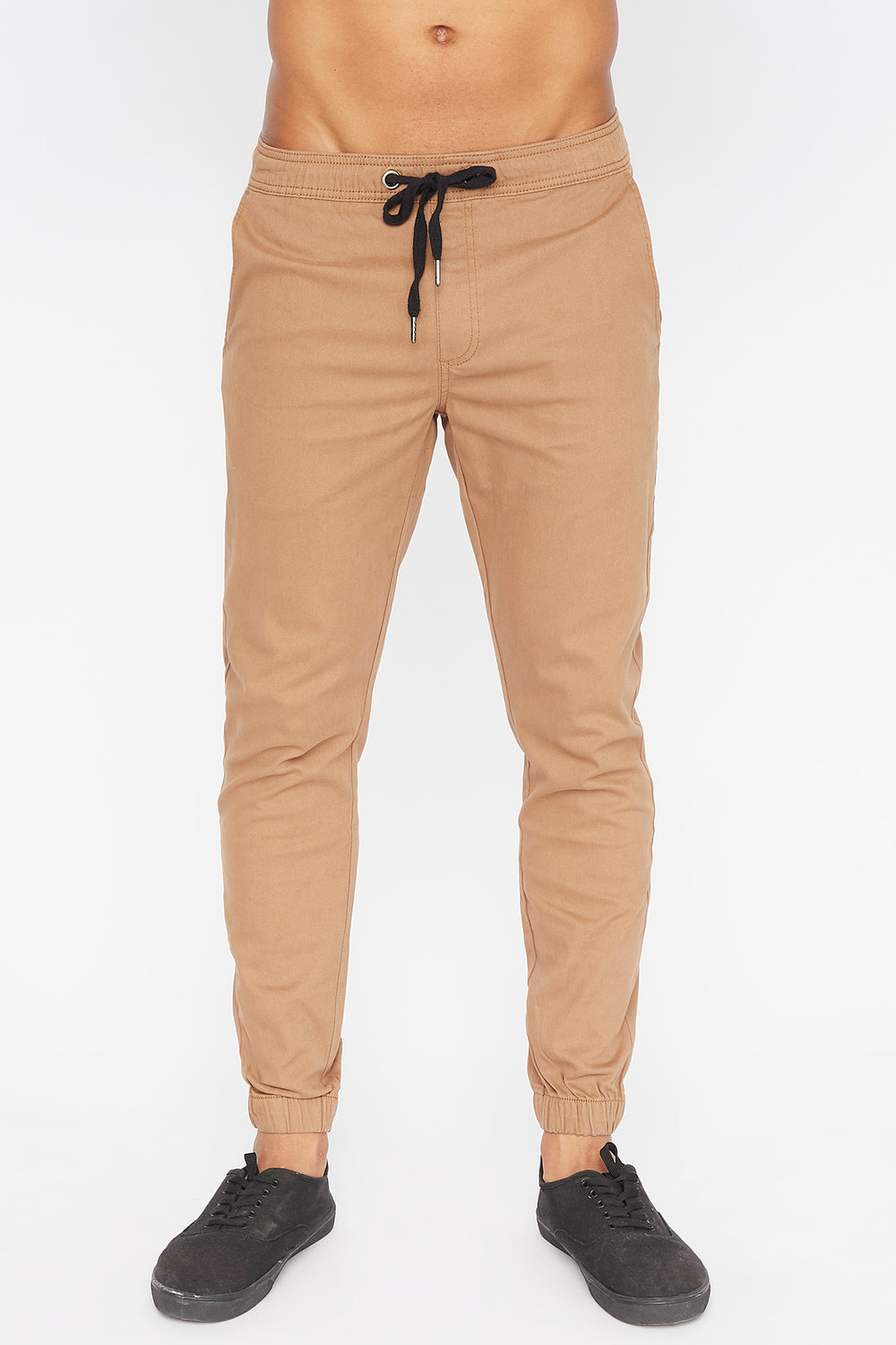 West49 Mens Solid Twill Basic Jogger Camel