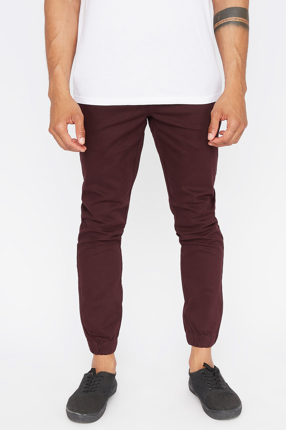 West49 Mens Solid Twill Basic Jogger Burgundy