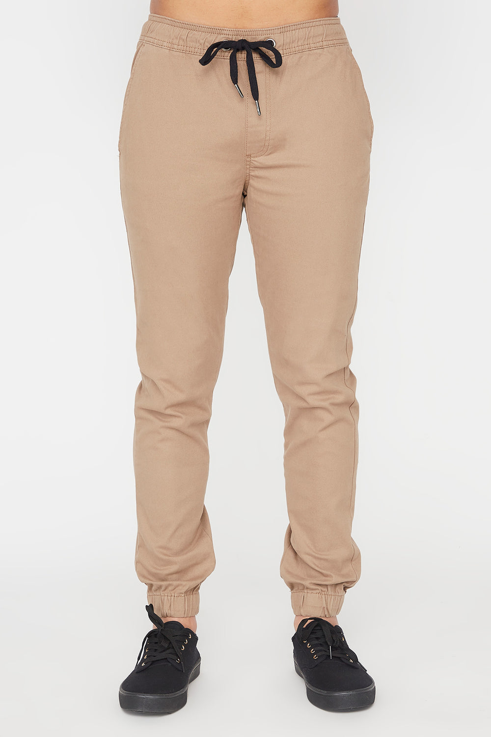West49 Mens Solid Twill Basic Jogger Sand