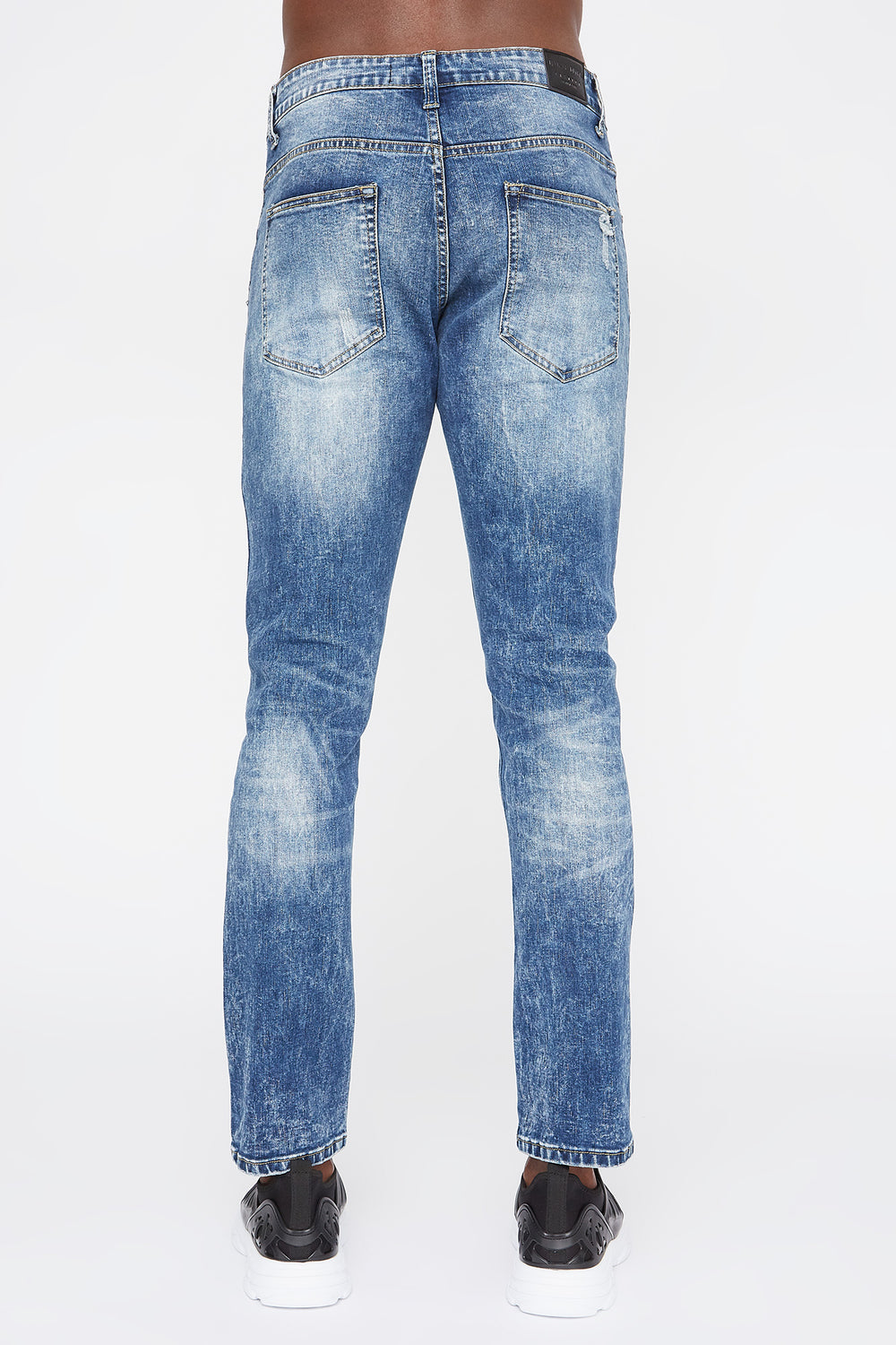 Mens Distressed Skinny Jeans Medium Blue