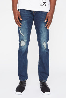 Mens Distressed Dark Wash Skinny Jeans