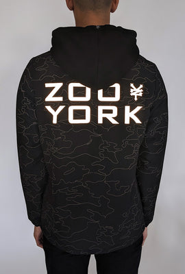 Zoo York Mens Hooded Reflective Night Camo Jacket