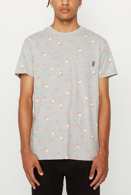 Amnesia Mens Ditsy Print Pocket T-Shirt