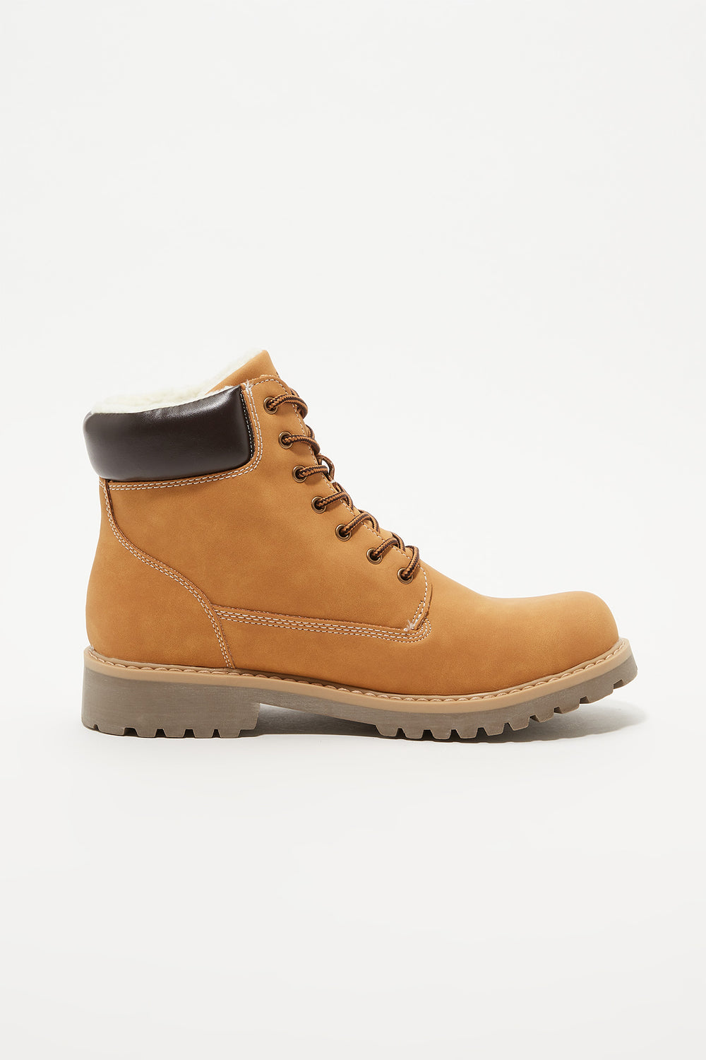 Storm Mountain Mens Faux-Fur Hiker Boots Tan
