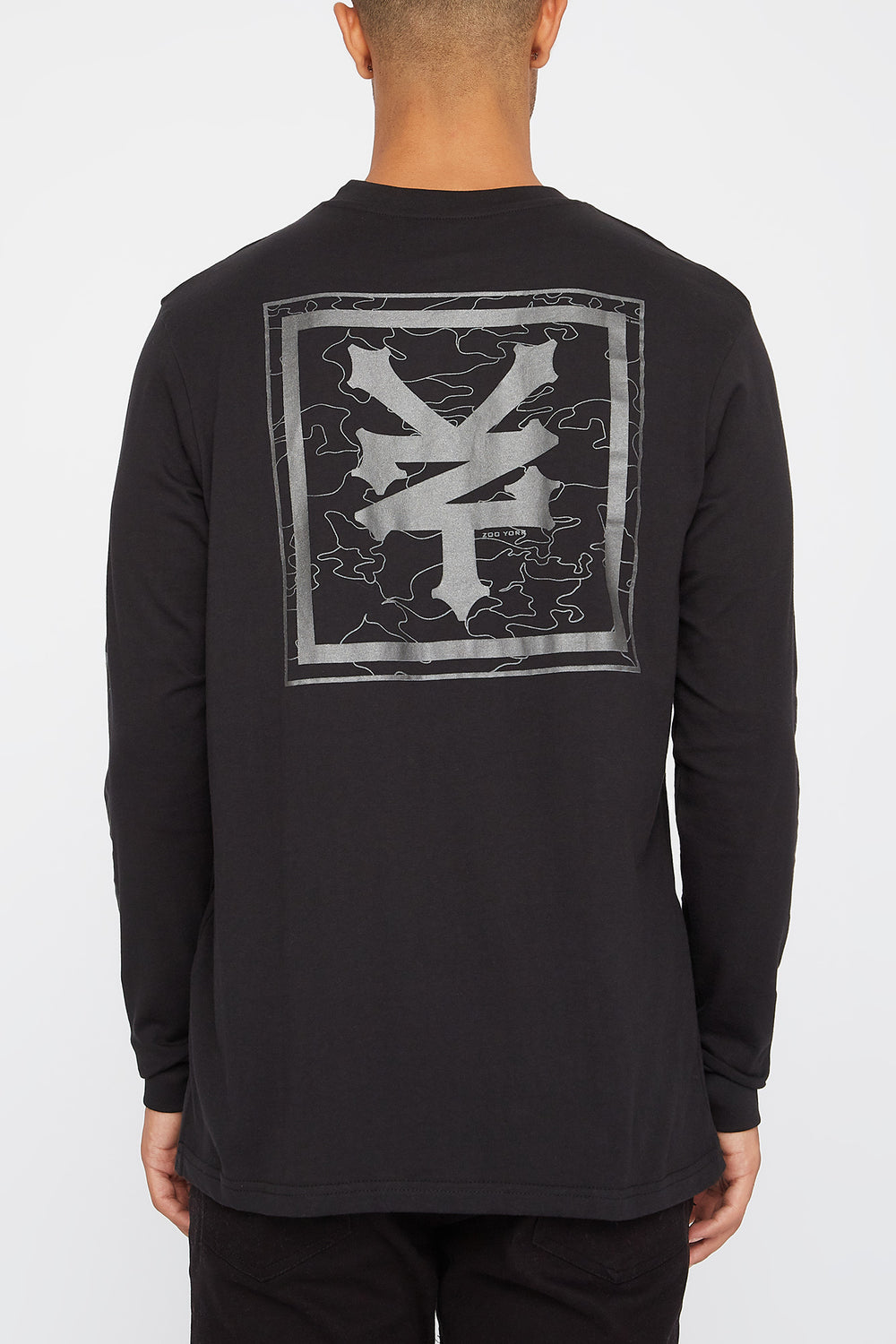 Zoo York Mens Reflective Camo Logo Long Sleeve Shirt Black