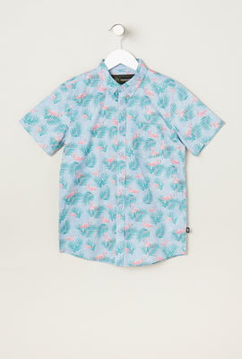 West49 Youth Flamingo Print Button-Up