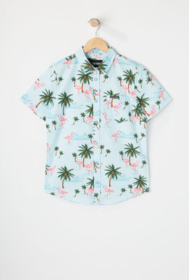 Zoo York Boys Pink Flamingo Print Button-Up Shirt