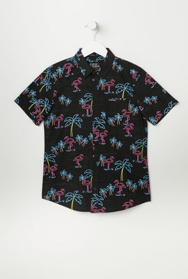 Zoo York Youth Flamingo Print Button-Up