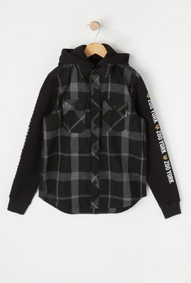 Zoo York Boys Hooded Flannel Button-Up Shirt