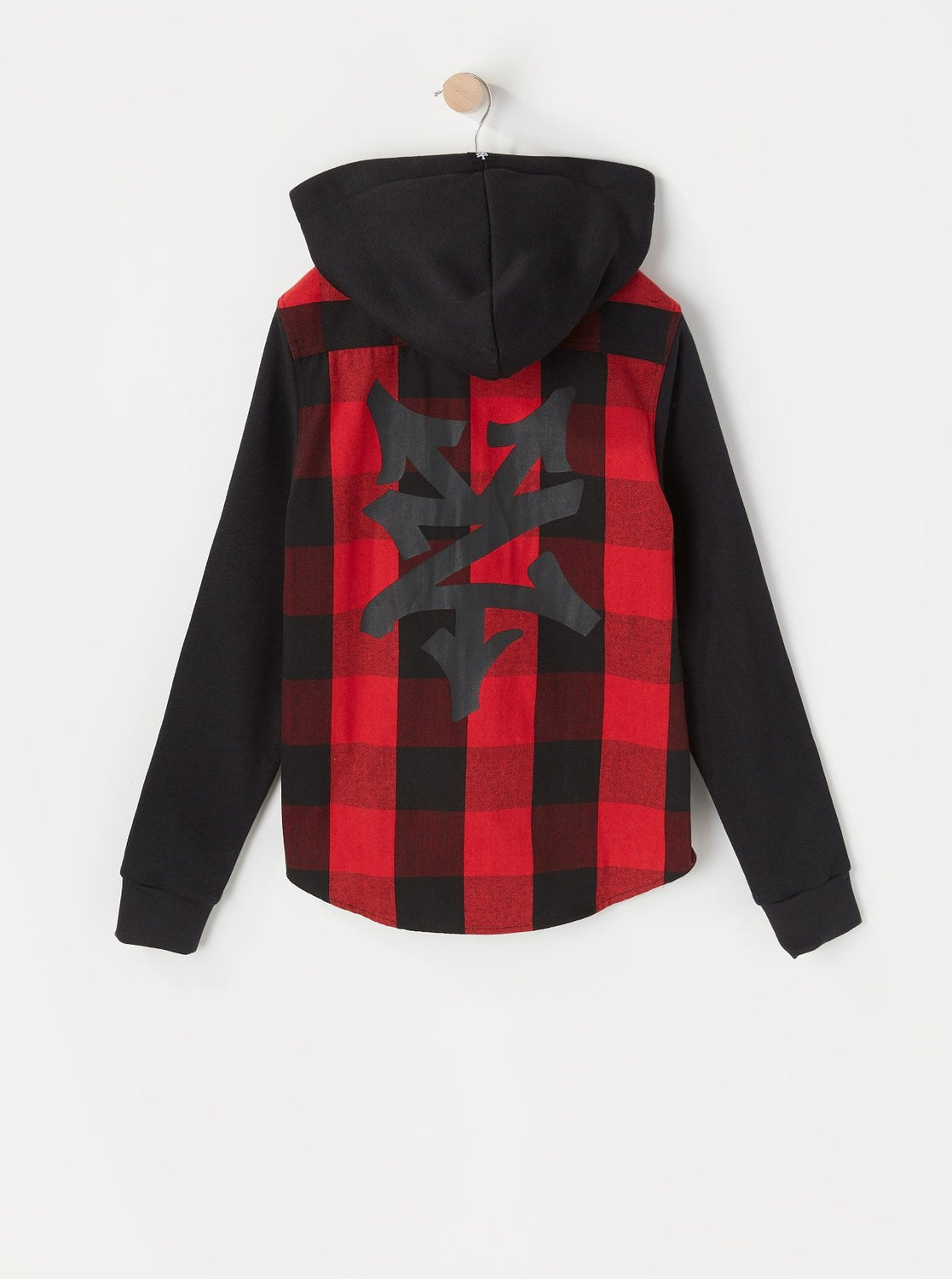 Zoo York Youth Hooded Flannel Button-Up Shirt Red