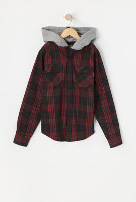 Zoo York Youth Hooded Flannel Button-Up Shirt