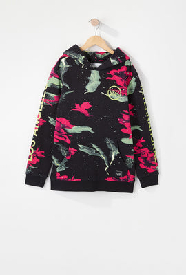 Young & Reckless Boys Neon Floral Pattern Hoodie