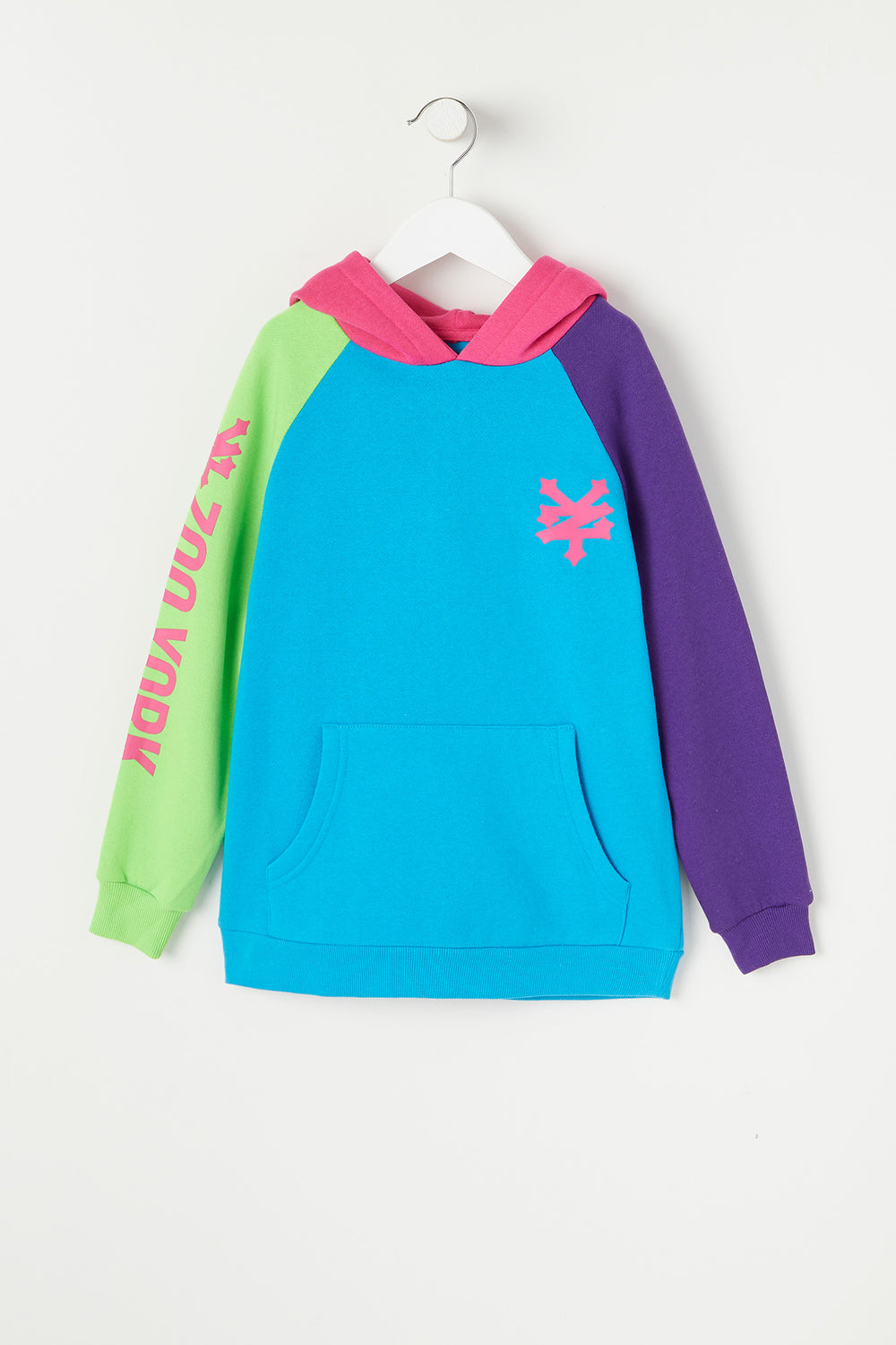 Zoo York Youth Colour Block Hoodie Ocean Blue