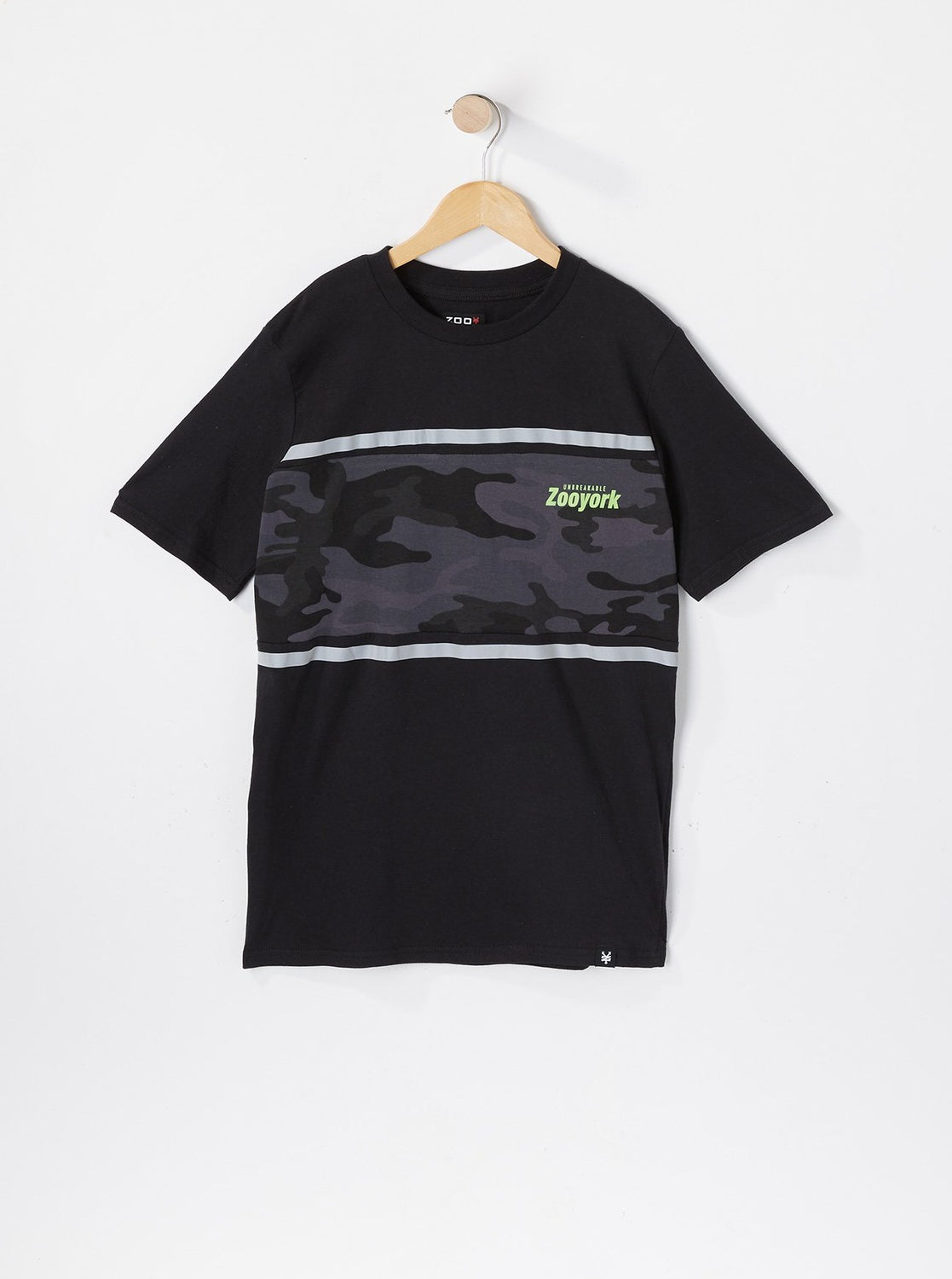 Zoo York Youth Reflective Camo Panel T-Shirt Black
