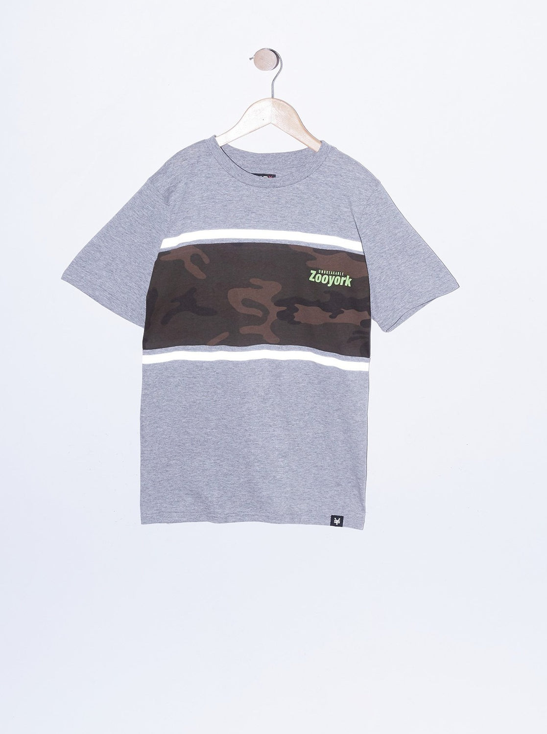 Zoo York Youth Reflective Camo Panel T-Shirt Heather Grey