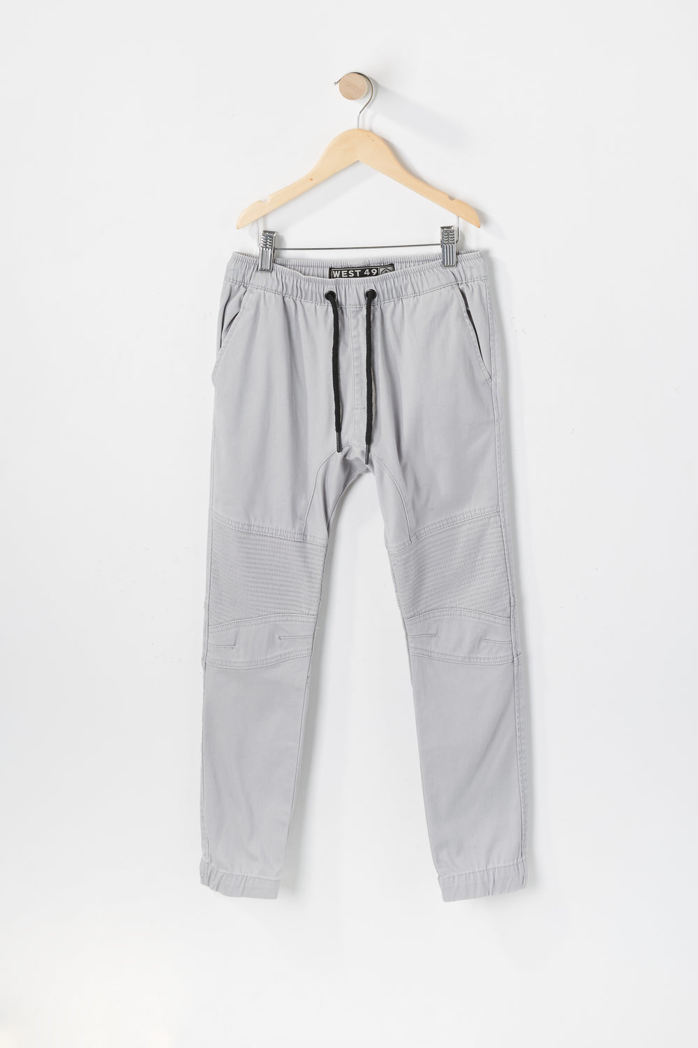 West49 Youth Solid Twill Moto Jogger Light Grey