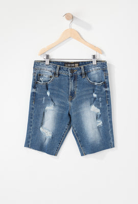Zoo York Boys Distressed Stretch Slim Denim Short