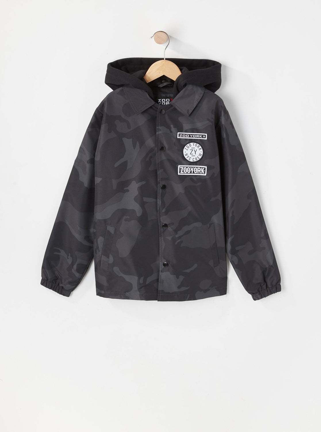 Zoo York Youth Patch Logo Coach Jacket Black with White