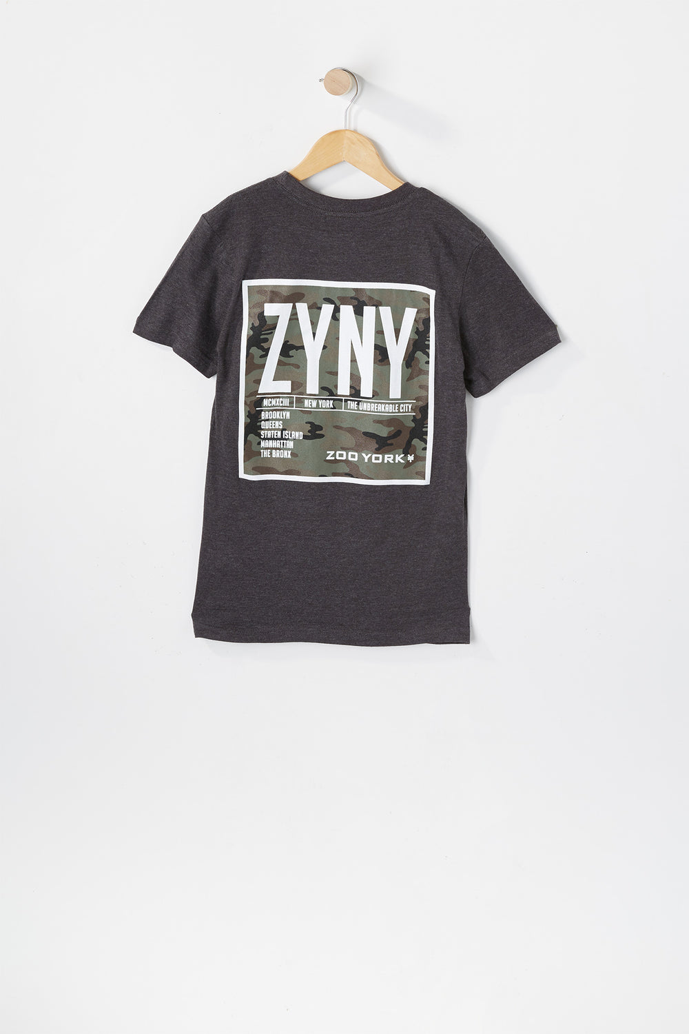T-Shirt Logo Camouflage Zoo York Junior Gris Noir