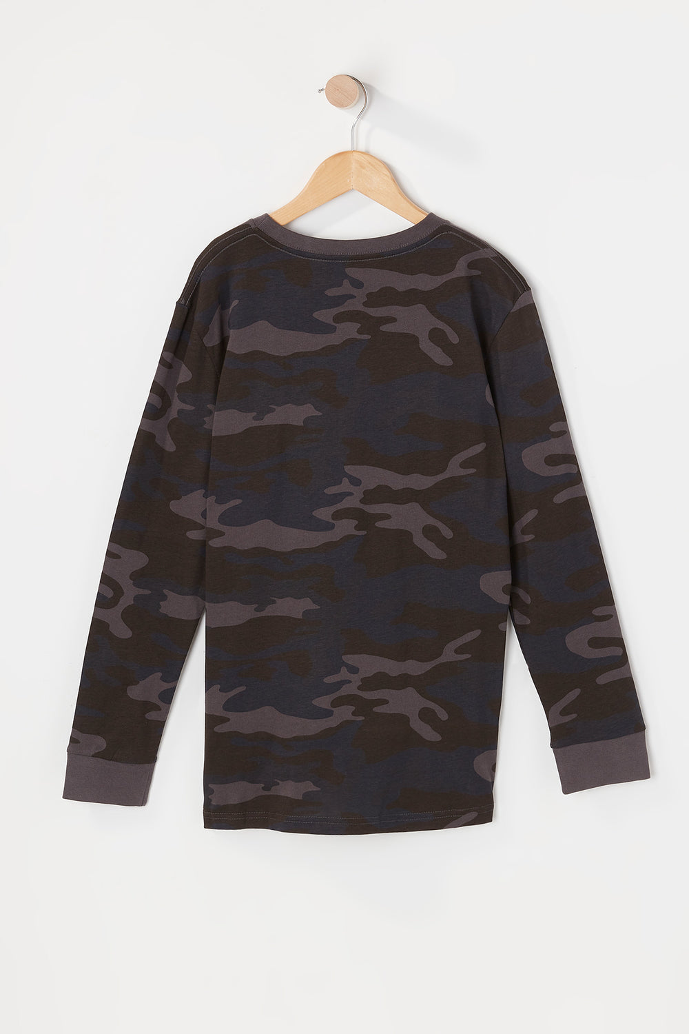 Zoo York Youth Camo Long Sleeve Top Black with White