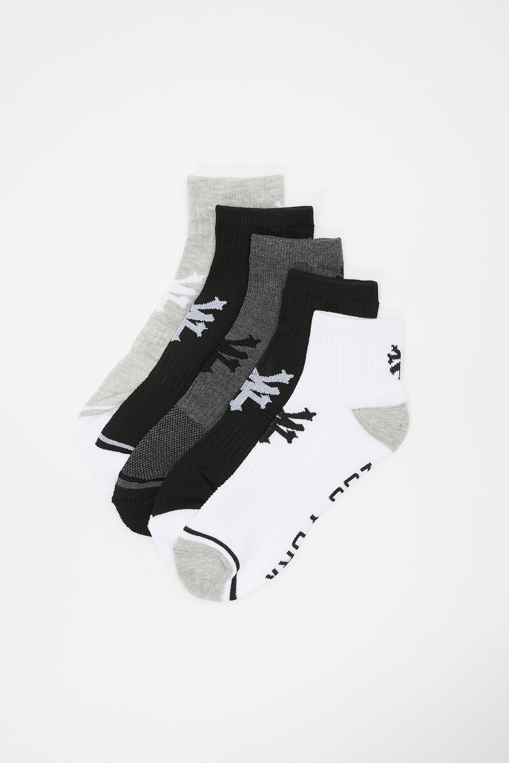 Zoo York Youth Ankle Socks 5-Pack Black with White