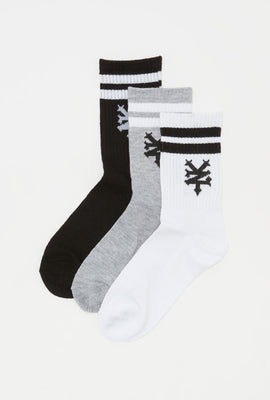 Zoo York Boys Logo and Stripes Crew Socks (3 Pairs)