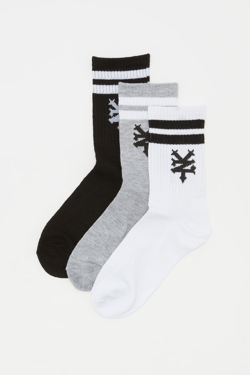 Zoo York Boys Logo and Stripes Crew Socks (3 Pairs) Black with White