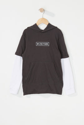 Zoo York Boys Patch Logo Hooded Long Sleeve Shirt