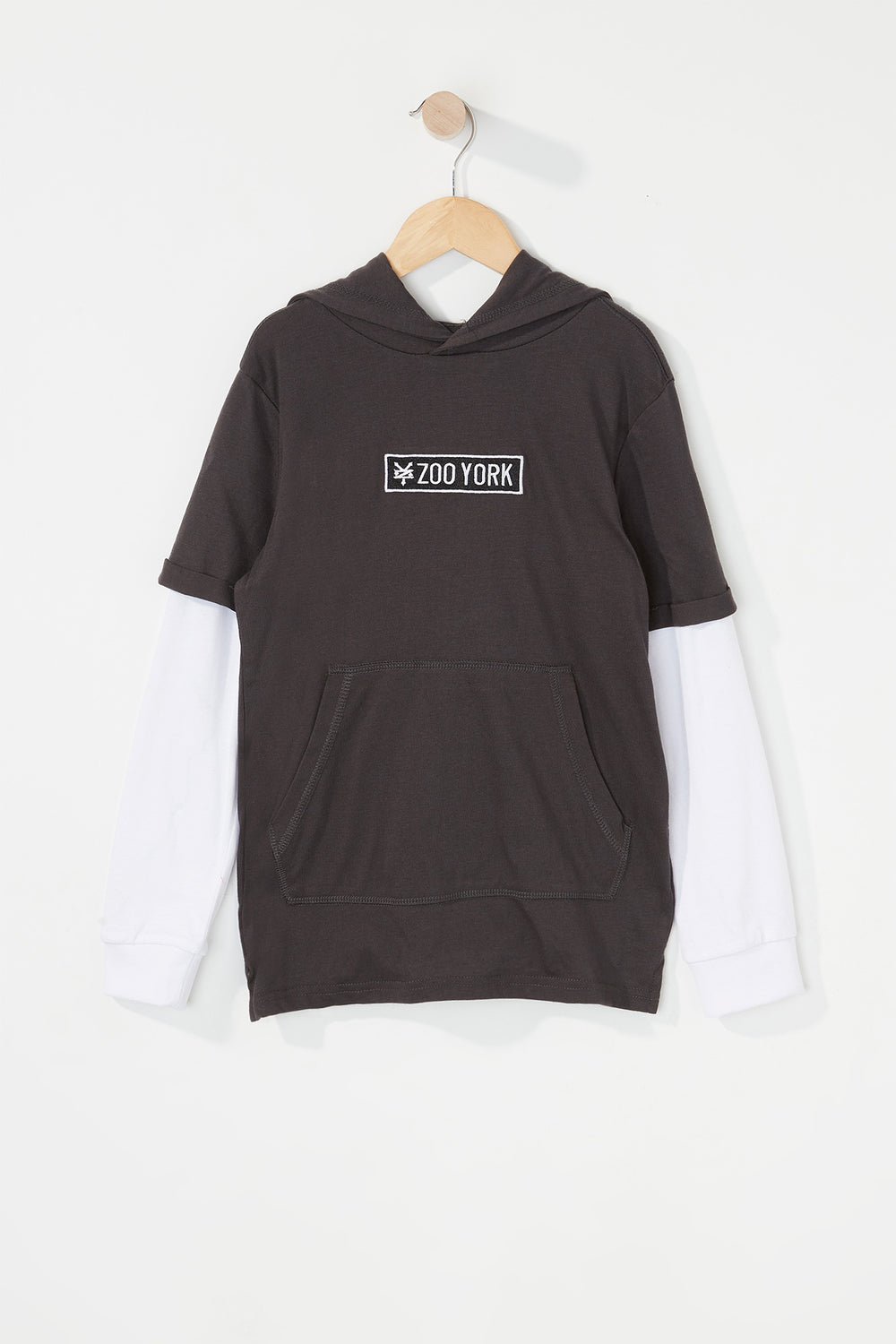 Zoo York Boys Patch Logo Hooded Long Sleeve Shirt Charcoal