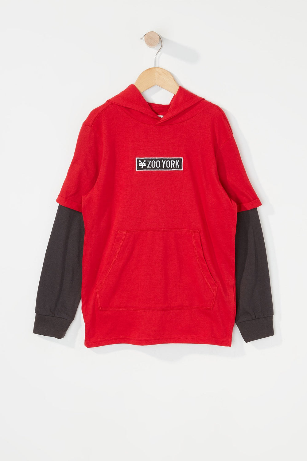 Zoo York Boys Patch Logo Hooded Long Sleeve Shirt Red
