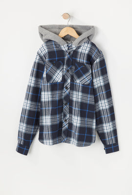West49 Youth Hooded Plaid Shirt