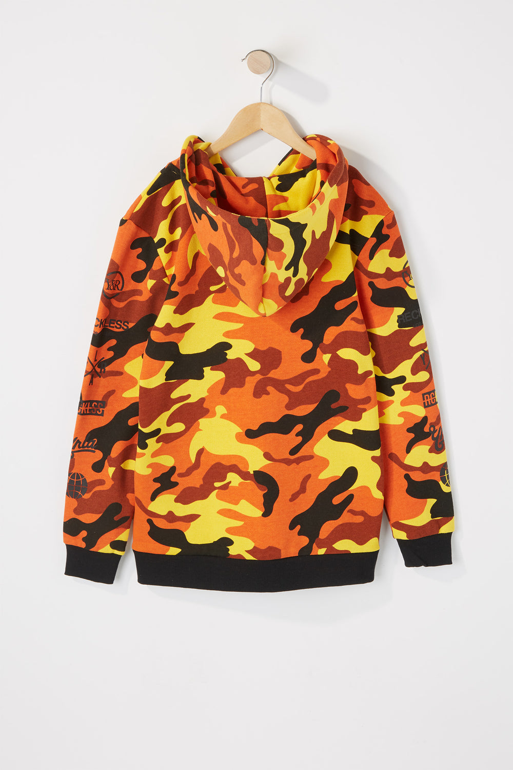 Young & Reckless Boys Orange Camo Hoodie Camouflage