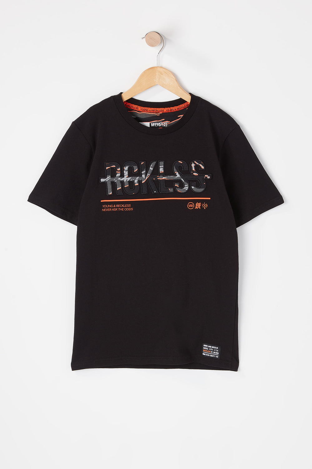T-Shirt Logo Camouflage Tigré Young & Reckless Junior Noir