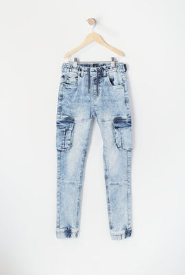 Youth Acid Wash Cargo Jean Jogger