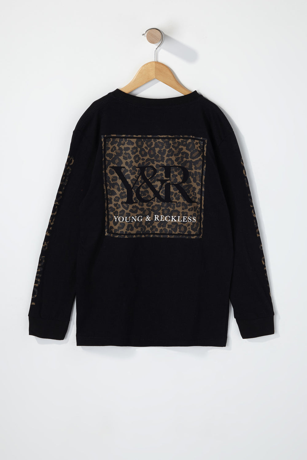 Young & Reckless Boys Leopard Print Logo Long Sleeve Shirt Black