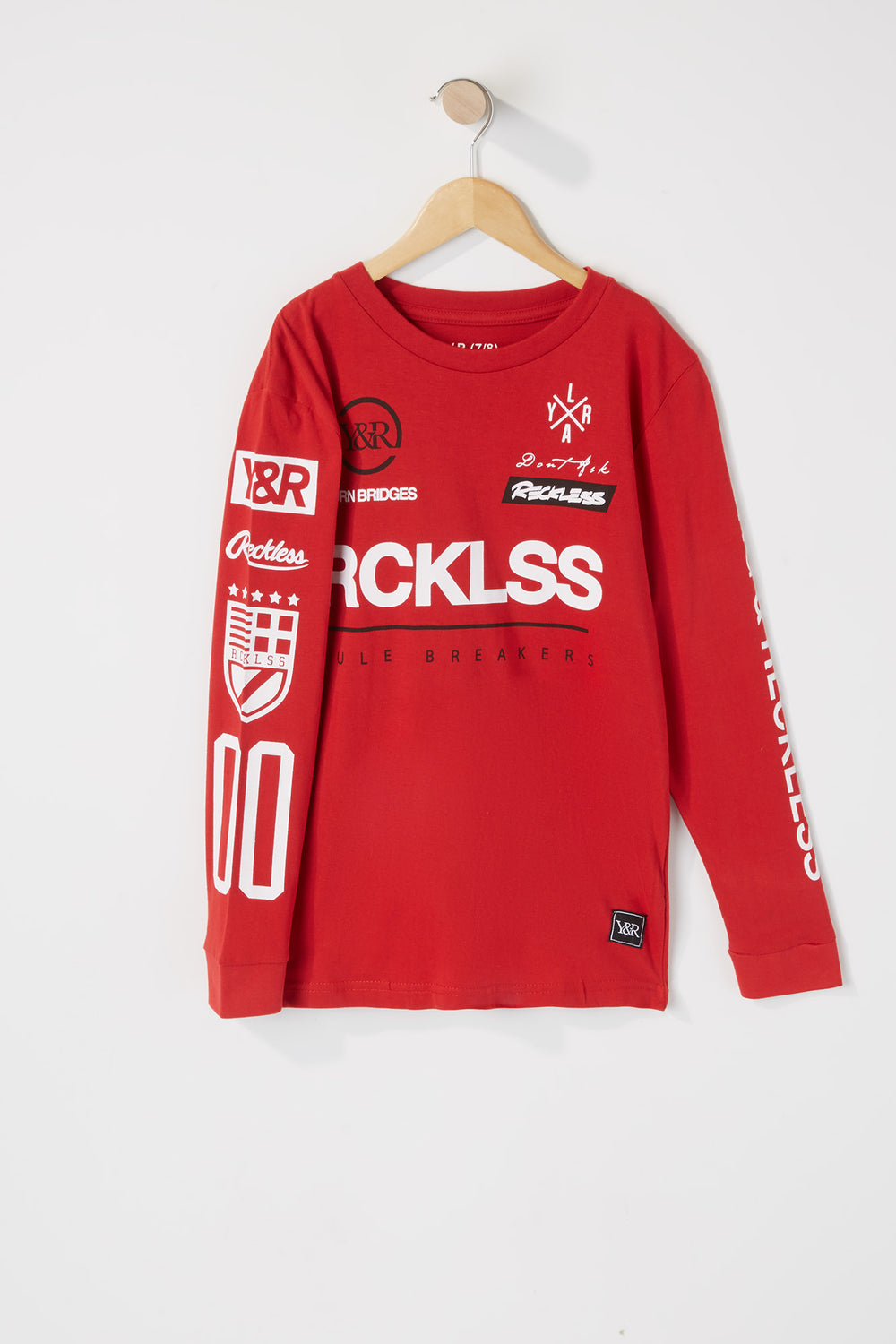 Young & Reckless Boys Rule Breakers Graphic Long Sleeve Shirt Red