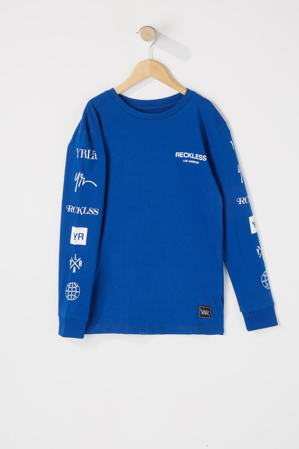 Young & Reckless Boys Printed Logos Long Sleeve Shirt Blue