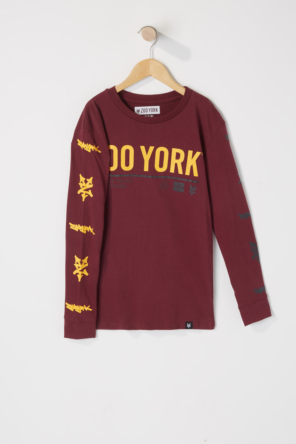 Zoo York Boys Fear Nothing Long Sleeves Shirt Burgundy