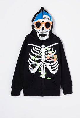 Boys Gamer Skeleton Peeper Zip-Up Hoodie